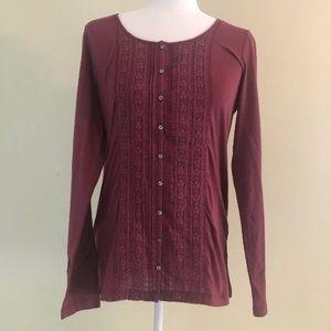 J. Jilll Small Floral Design Long Sleeve blouse